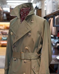 """The Armoury NYC will be closing early at 7 PM today for a private event, we apologize for any inconvenience. . Shown here is the mod. """"Al II"""" from #Coherence. Based on a trench coat worn by Albert Camus, this is made up in an incredible iridescent gaberdine. Available in store now and online soon.  (at The Armoury New York)"""
