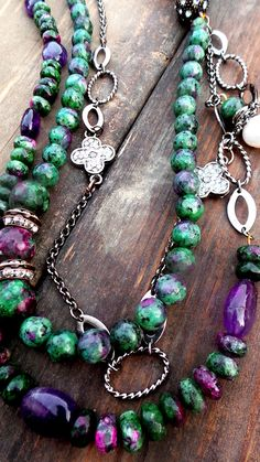 Ruby Zoisite Necklace by LeilaStore on Etsy  Handmade item Materials: Ruby Zoisite, Pearl, Amethyst, Chain, Crystals, Natural Pearls, Gemstones, Beads, Gems