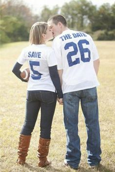 Sports Fan Save The Date Photo Idea. See more here: 27 Cute Save the Date Photo Ideas | Confetti Daydreams u2665  u2665  u2665 LIKE US ON FB: www.facebook.com/confettidaydreams  u2665  u2665  u2665 #Wedding #SaveTheDate #PhotoIdeas
