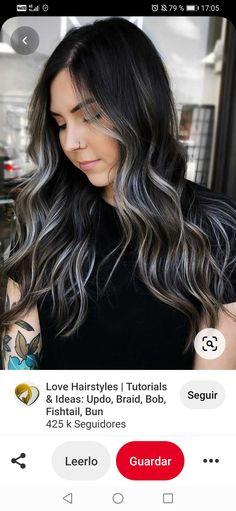 Brown Hair With Silver Highlights, Hair Highlights, Balayage On Black Hair, Black Hair With Lowlights, Best Hair Dye, Hair Shades, Hair Dye Colors, Aesthetic Hair, Hair Color For Black Hair