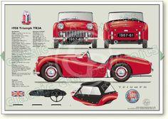 Triumph TR3A 1958-62 classic sports car portrait print