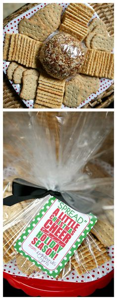 Cheeseball Christmas gift idea. Includes the free printable gift tag.