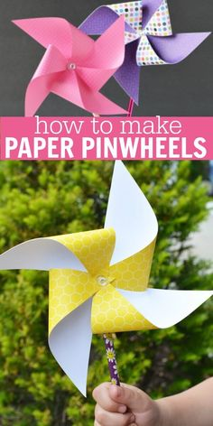 fácil crianças simples diversão How to Make Paper Pinwheels - Easy Paper Pinwheels DIY Learn how to make paper pinwheels. It's so easy to make paper pinwheels. Once you know how to make a paper pinwheel, it's very simple. Try this fun paper pinwheels DIY! Kites For Kids, Summer Crafts For Kids, Crafts For Kids To Make, Easy Diy Crafts, Summer Diy, Kids Diy, Decor Crafts, Fall Crafts, Kids Picnic Crafts