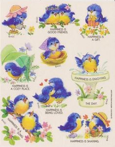 Vintage Adorable Blue Birds Sticker sheet by AGC Bird Nest Craft, Bird Crafts, Vintage Birthday, Vintage Easter, Vintage Birds, Vintage Art, Bird Clipart, Bird Silhouette, Bird Drawings