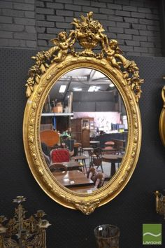 Late 19th Century French Gilt Gesso Oval Mirror, with beaded
