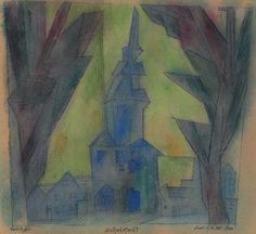 Lyonel Feininger (1871-1958) Zottelstedt  signed, titled and dated 'Feininger Zottelstedt Sonnt. d. 14. Mai. 1922' (along the lower edge) watercolor and pen and black ink on paper  11 3/8 x 12 3/8 in. (28.9 x 31.4 cm.)  Executed on 14 May 1922 Estimate $40,000 - $60,000