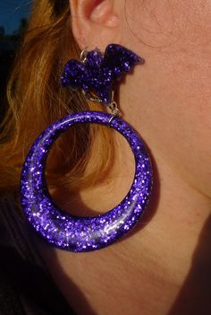 Look at these Lovely Hoop Dangle Glitter Earrings!!! Pin up , Rockabilly , Bat Wings , Halloween , Several Colors avail. by princessmadisonparis on Etsy