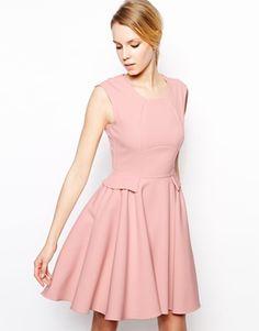 Image 1 ofCloset Skater Dress with Peplum $91