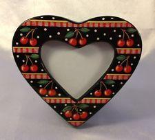 Again, I prefer ceramic -  Vintage Mary Englebreit Photo Frame Cherries Black Polka Dots Ceramic Heart