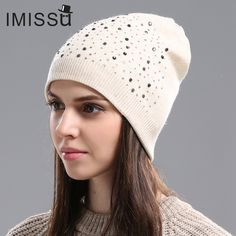 IMISSU Autumn Winter Beanie Hat Women's Knitted Wool Skullies with Crystal Casual Cap Solid Color Winter Hats for Women