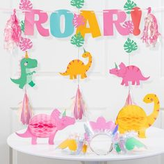 3rd Birthday Party For Girls, Girl Birthday Themes, Birthday Party Decorations, Birthday Ideas, 4th Birthday, Dinasour Birthday, Girl Dinosaur Birthday, 1 Girl, Dinosaur Mask