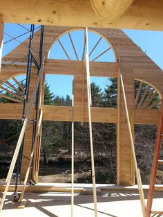 A Log Truss All Installed This Supports The Purlin Roof