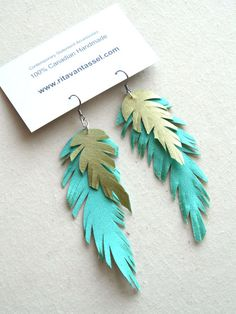 fabric feather earrings | Soft Satin Turquoise and Lime Long Feather by RitaVanTassel