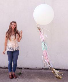36 Inch Round Balloon with Tissue Tassels in by CarouselLane, $54.00 #balloon #tassel #tissue #shabby #chic #gold #wedding #shower #decor #frill #fancy #baby #girl #bridal