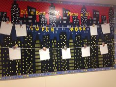 Superhero bulletin board display for student work
