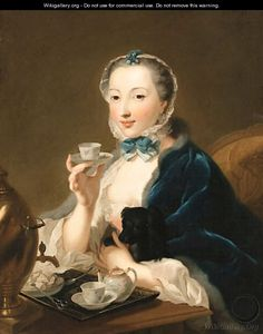 Portrait of the artist's wife, Marie Sophie Robert, half length, with a dog and holding a tea cup by Johann Heinrich The Elder Tischbein