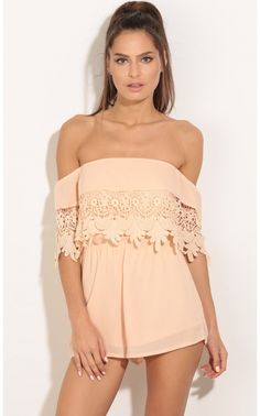 Rompers/Jumpsuits > Off The Shoulder Crochet Romper In Peach