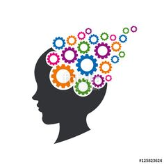 """""""Kid Brain with Gears. Concept of Mental Thinking. Vector Illustr"""" Stock image and royalty-free vector files on Fotolia.com - Pic 125823624"""