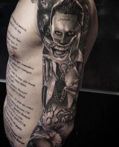 Joker tattoo tattoo by Vlad. Limited availability at Redemption Tattoo Studio. Bicep Tattoo Men, Cool Forearm Tattoos, Cute Tattoos, Body Art Tattoos, Tattoos For Guys, Evil Tattoos, Joker Tattoos, Tattoo Sleeve Designs, Sleeve Tattoos
