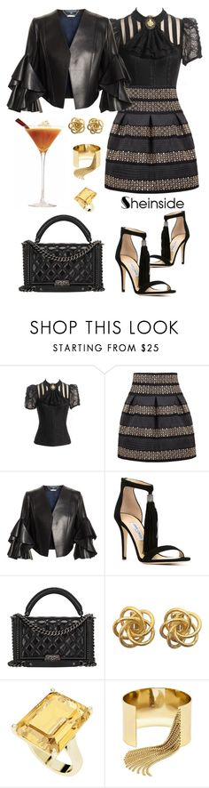 """DOH Style 'Black High Waist Skirt/Shein contest with prize!'"" by dohinstyle ❤ liked on Polyvore featuring Alexander McQueen, Jimmy Choo, Chanel, StyleRocks and BaubleBar"