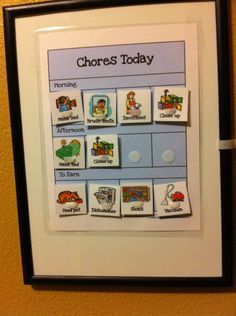 Chore chart for young kids (pictures)
