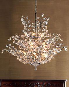 """""""Upside Down"""" Crystal Chandelier - Neiman Marcus Crystal Chandelier Lighting, Chandelier Lamp, Home Lighting, Bathroom Chandelier, Modern Chandelier, Bedroom Chandeliers, Vintage Crystal Chandelier, Rectangle Chandelier, Iron Chandeliers"""