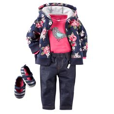 Now here's a cute mix of our favorite essentials for baby girl. French terry hooded cardigan, appliqué little birdie bodysuit and faux denim leggings…. which means she stays comfortable!