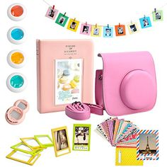 SKmoon 7 in 1 Fujifilm Instax Mini 8 Instant Film Camera Accessories Bundles Set Camera Case Album Selfie Lens CloseUp Lens Frames Film Frames StickersPink -- Details can be found by clicking on the image.