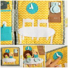 Cora's dollhouse, travel dollhouse, quiet busy book for girls, развивающая книжка, кукольный домик, столовая