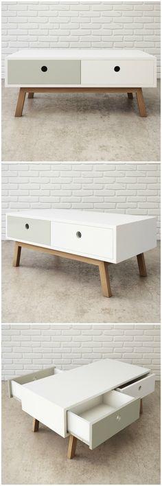 Colección ADELA. Mesa de centro nórdica, de estilo retro. Combina la madera…