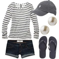 Loving the striped shirt and shorts combination maybe instead of the cap a nice black fedora would add a new dimension to the look. You could also wear vans or converse on the shoes for a more sporty style