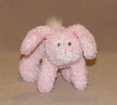 "Baby Gund Pink White Springtime Toodles Rattle Bunny Rabbit Plush 6"" Toy 36128 #Gund"