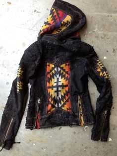 Pendleton Indian Blanket and Leather Hoodie Moto by KiyoteofBigSur, $600.00