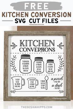 Diy Kitchen Projects, Diy Craft Projects, Kitchen Decor, Project Ideas, Cricut Craft Room, Cricut Vinyl, Measurement Conversion Chart, Kitchen Conversion Chart, Cricut Svg Files Free