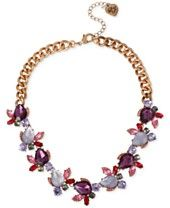 Macys -Betsey Johnson Rose Gold-Tone Purple Crystal and Etched Stone Drama Necklace