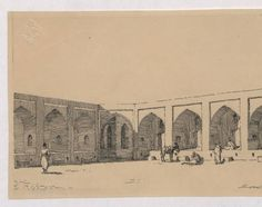 Baghdad (Iraq): Mahmudiyya Khan: elevation of courtyard facade :: The Ernst Herzfeld Papers,Architectural Plan Architecture Sketch , Drawing, Lineart Design