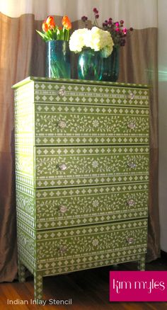 Green stenciled dresser, Indian Inlay Stencil from Cutting Edge Stencils.