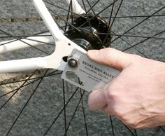 Useful business card fits in your wallet and lets you adjust bolts and spokes on your bicycle.