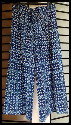 indigo printed cotton mul palazzo pants by tadka
