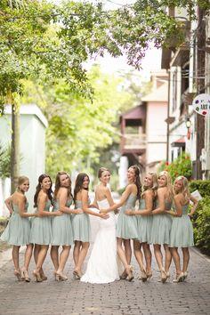 Mint Green Bridesmaid Dresses | Jenn Hopkins Photography | TheKnot.com