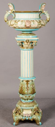 Antique Majolica Jardiniere On Stand