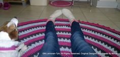 crocheted rug and my assistant ; Rugs, Crochet, Farmhouse Rugs, Chrochet, Crocheting, Knits, Floor Rugs, Rug, Carpets