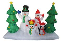 8 Foot Long Inflatable Snowmen Family w/ Pet Penguin Around Christmas Trees  With self-inflating design, this Inflatable will be presented in front of your family in seconds. With the lights, it is the perfect decoration at your front door or backyard at night. Worried about storage? Simply let the air out and fold it! Caution: Do not inflate during storms or strong winds. Protect fan and power cord from water. Not for use in temperatures below 14 degrees F (or -10 degrees C). Not fo..