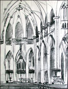 I love to sketch, which is a whole different ballgame than painting, but drawing skills are the foundation for (representational) painting,. Drawing Skills, Art Lessons, Cathedral, Drawings, Foundation, Sketch, Painting, Minimalism, Color Art Lessons