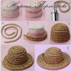Polymer clay hat tutorial (part Polymer Clay Miniatures, Polymer Clay Projects, Diy Clay, Clay Figurine, Fondant Figures, Miniature Crafts, Mini Things, Pasta Flexible, Cake Decorating Tips