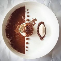 "By ""Tiramisu with espresso ice cream. Espresso Ice Cream, Food Plating Techniques, Simple Muffin Recipe, Fancy Desserts, Gourmet Desserts, Gourmet Food Plating, Gourmet Foods, Healthy Desserts, Dessert Decoration"