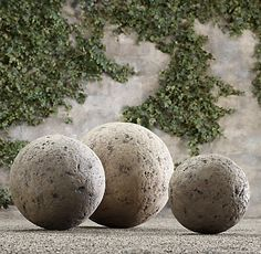 Restoration Hard (to swallow these prices) ware's  Stone Garden Spheres are a great accent in   gardens, or on decks and patios, they add...