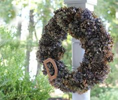 DIY Dried Hydrangea Wreaths  suspend letter in the middle