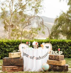 travel themed wedding:vintage suitcase table decor adventure!!!
