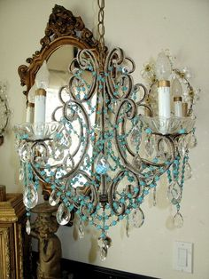 19thC Italian BEADED CHANDELIER Aqua OPALINE Paris Flea Market Treasure  www.parispanacheantiques.com